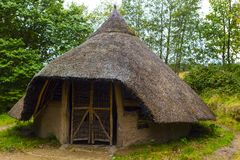 Vista esteriore della capanna di età del ferro sull'isola di Arran, Scozia Fotografia Stock Libera da Diritti