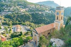 Vista esteriore della chiesa storica della nostra signora del presupposto di Eze fotografia stock