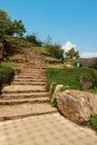 Vista estreita da escadaria de pedra no ponto de vista, Kailashgiri, Visakhapatnam, Andhra Pradesh, o 5 de março de 2017 Imagem de Stock