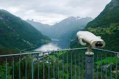 Vista excitante do fiorde de Sunnylvsfjorden Fotos de Stock Royalty Free