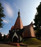 Vista exterior à igreja luterana evangélica em Siofok, Hungria fotografia de stock