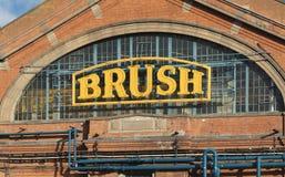 Vista exterior da fábrica de máquinas elétrica da escova, Loughbor fotos de stock