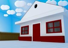 Vista exterior de una casa - representación 3d Imagen de archivo