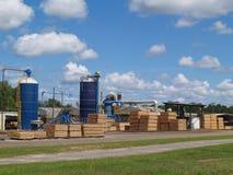 Vista exterior de una yarda de madera de construcción del sur de Georgia Fotografía de archivo