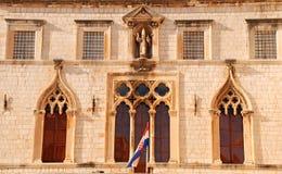 Vista exterior del palacio de Sponza (Dubrovnik, Croatia) Imagenes de archivo