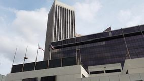 Vista exterior do World Trade Center, Banco Americano na baixa video estoque
