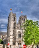 Vista exterior a San Miguel y a la catedral del St Gudula, Bruselas, Bélgica imagen de archivo libre de regalías
