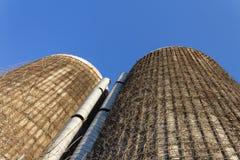 Vista extrema que olha acima as caras de dois silos de grão concretos velhos cobertos nas videiras, céu azul fotos de stock