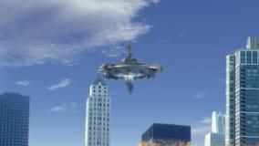 Vista falsa del UFO en Chicago almacen de metraje de vídeo