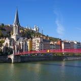 Vista famosa de la ciudad de Lyon Fotos de archivo