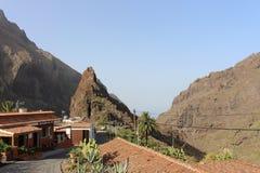 Vista fantástica de Masca, ciudad perdida, valle de piratas, Tenerife, España Fotos de archivo libres de regalías