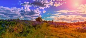 Vista fantastica con le nuvole nuvolose maestose sopra la strada della montagna Fotografie Stock