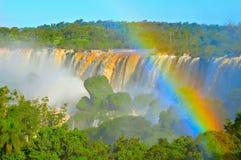 Vista fantastica delle cascate di Iguazu a tempo di tramonto Immagine Stock Libera da Diritti
