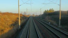 Vista ferroviaria di viaggio stock footage
