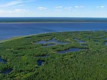 Vista fiume-aerea del Yenisei Immagine Stock Libera da Diritti