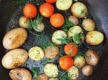 Vista fritta verdure deliziose dalla cima Immagine Stock Libera da Diritti