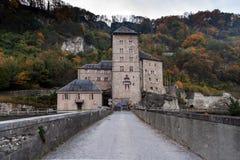 Vista frontal da fortaleza do St Maurice History, Suíça foto de stock royalty free