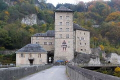 Vista frontal da fortaleza do St Maurice History, Suíça imagem de stock royalty free
