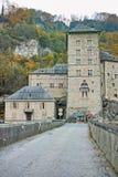 Vista frontal de la fortaleza del St Maurice History, Suiza Imagen de archivo