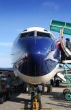 Vista frontal de un aeroplano Imagenes de archivo
