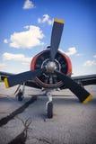 Vista frontal del propulsor de aeroplano viejo del vintage Imagen de archivo libre de regalías