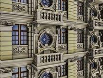 Vista frontale 01 della bella facciata eclettica variopinta Immagini Stock