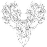 Vista frontale dei cervi triangolari dell'icona della testa dell'animale illustrazione vettoriale