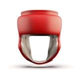 Vista frontale del casco rosso di pugilato Fotografia Stock