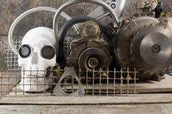 Vista frontale del cranio meccanico Immagini Stock Libere da Diritti