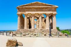 Vista frontale del della Concordia di Tempio a Agrigento Immagine Stock