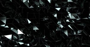 Vista frontale del modello riflettente nero dei triangoli commoventi stock footage