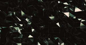 Vista frontale del modello riflettente verde caldo dei triangoli commoventi stock footage