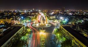 Vista frontale del monumento di democrazia, Bangkok, Tailandia Fotografia Stock