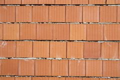 Vista frontale del muro di mattoni, fine del fondo su immagine stock libera da diritti