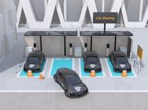 Vista frontale del parcheggio di car sharing fornito dei pannelli solari, caricando le stazioni e le batterie Illustrazione di Stock