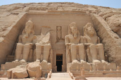 Vista frontale del tempiale di Abu Simbel Immagine Stock Libera da Diritti