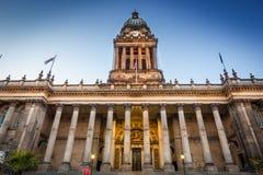 vista frontale del townhall di Leeds Immagini Stock Libere da Diritti
