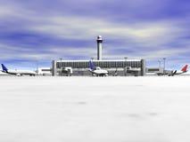 vista frontale dell'aeroporto 3D Fotografia Stock Libera da Diritti