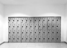 Vista frontale dell'armadio del metallo, concetto di sicurezza - tonnellata in bianco e nero Fotografia Stock Libera da Diritti