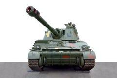 Vista frontale dell'attrezzatura dell'obice automotore militare del cingolo immagini stock libere da diritti