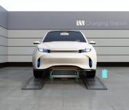 Vista frontale della batteria bassa di SUV di scambio elettrico di automobile in batteria che scambia stazione royalty illustrazione gratis