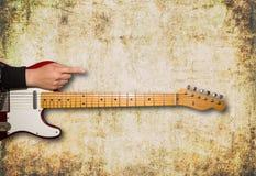 Vista frontale della chitarra con spazio per testo Fotografia Stock