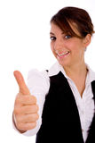 Vista frontale della donna corporativa felice con i pollici in su Fotografia Stock