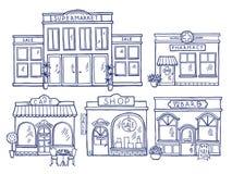 Vista frontale della facciata delle costruzioni Negozio, caffè, centro commerciale e farmacia Illustrazioni di scarabocchio messe illustrazione vettoriale