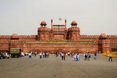 Vista frontale della fortezza indiana famosa della fortificazione rossa Immagine Stock