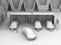 Vista frontale della rappresentazione di ombreggiatura dell'argilla delle automobili elettriche nel parcheggio di car sharing sol Illustrazione Vettoriale