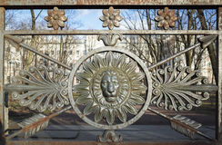 Vista frontale della testa del leone nel telaio rotondo decorazione Fotografia Stock