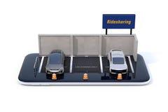 Vista frontale delle automobili elettriche con il tabellone per le affissioni di car sharing sullo smartphone Illustrazione Vettoriale