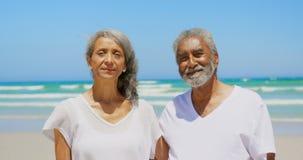 Vista frontale delle coppie afroamericane senior attive con le armi intorno a stare sulla spiaggia 4k archivi video