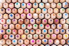 Vista frontale delle matite di legno colorate Fotografie Stock